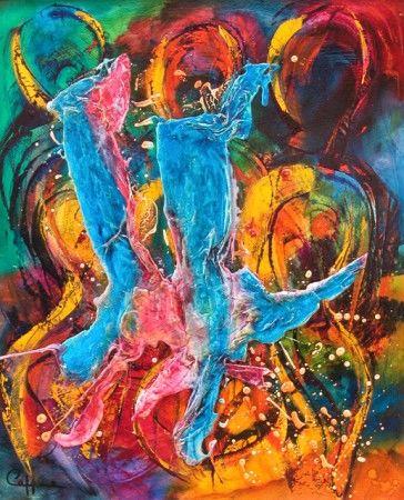 Une très belle peinture à l'huile, lumineuse et sereine, limpide et enjouée  ....
