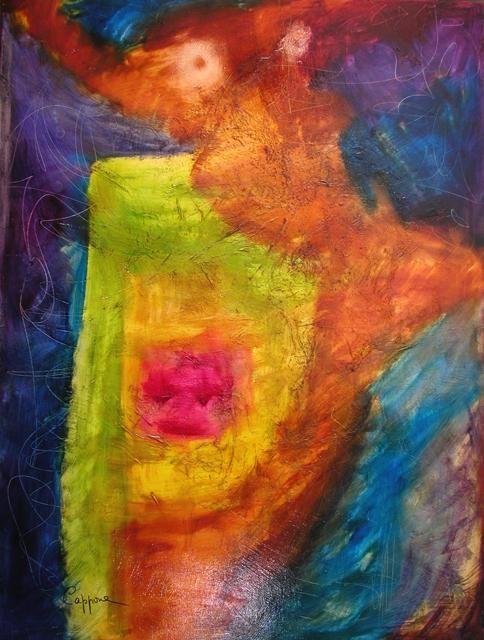 Penser avec le Coeur, Huile sur Toile 130*97 cm ARTEMONACO12  ARTMONACO'12 Artemonaco cappone Christiane salon