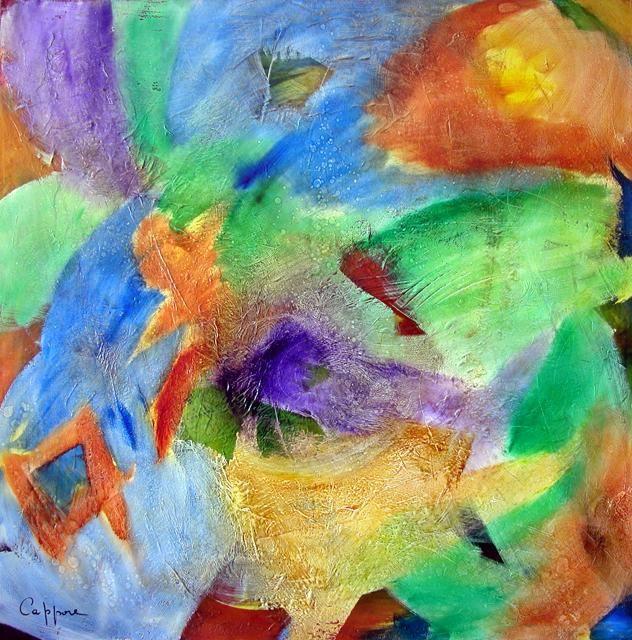 Carré D'Eau, Huile  sur Toile 100*100 cm CAGNES LABO BEN VAUTIER  cappone peintre cosmos  Vigibio lucas negre contemporain actuel peintres